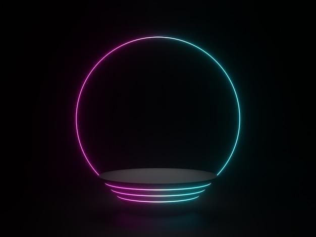 3d 렌더링 네온 빛 어두운 배경으로 검은 기하학적 스탠드
