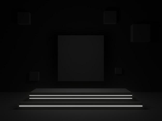3d는 흰색 네온 불빛과 함께 검은 기하학적 스탠드를 렌더링
