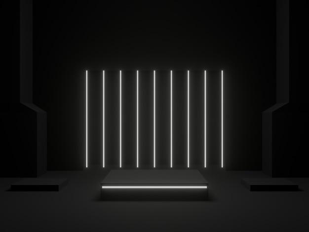 흰색 네온 불빛이 있는 3d 렌더링된 검은색 기하학적 스탠드
