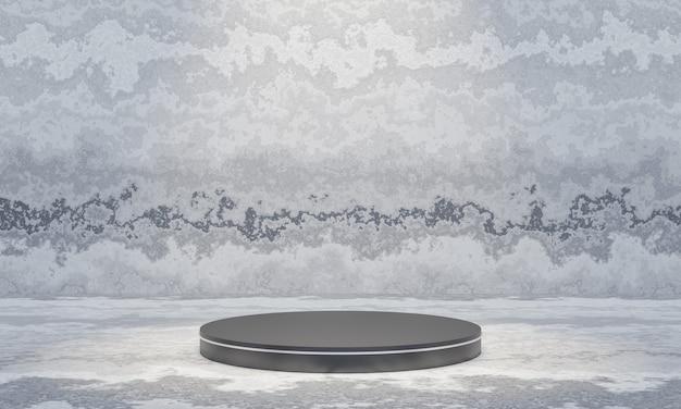 시멘트 벽 배경으로 3d 렌더링 검은 연단