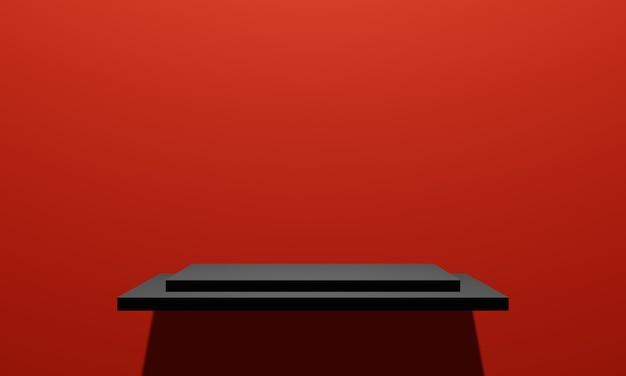 赤い壁の背景を持つ3dレンダリングされた黒い製品棚