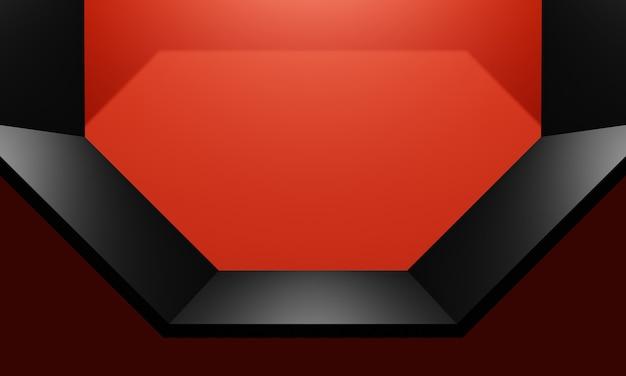 3d визуализация черная полка для продуктов на красном фоне стены