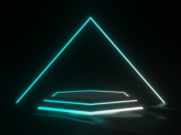 グラデーションネオンライトを備えた3dレンダリングされた黒い製品スタンド