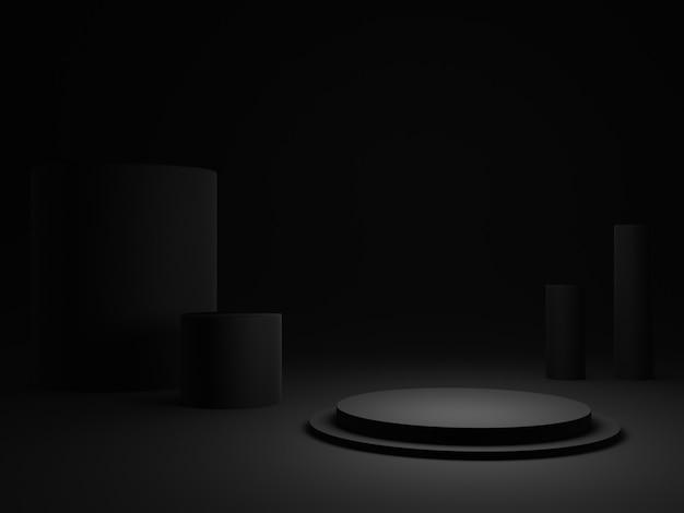 3dレンダリングされた黒い丸い表彰台。暗い背景。
