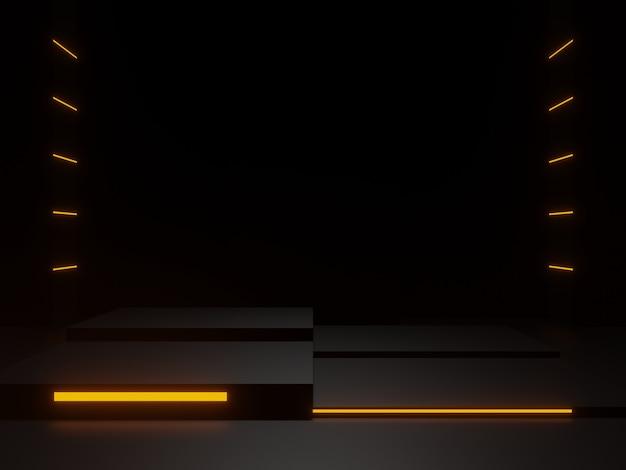 황금 네온 불빛이 있는 3d 렌더링된 검은색 과학 연단