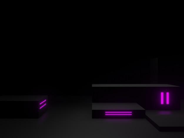 보라색 네온 불빛이 있는 3d 렌더링된 검은색 과학 연단