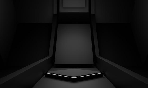 3d rendered black scientific stage podium.
