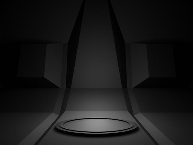 3d 렌더링 검은 과학 무대 연단.