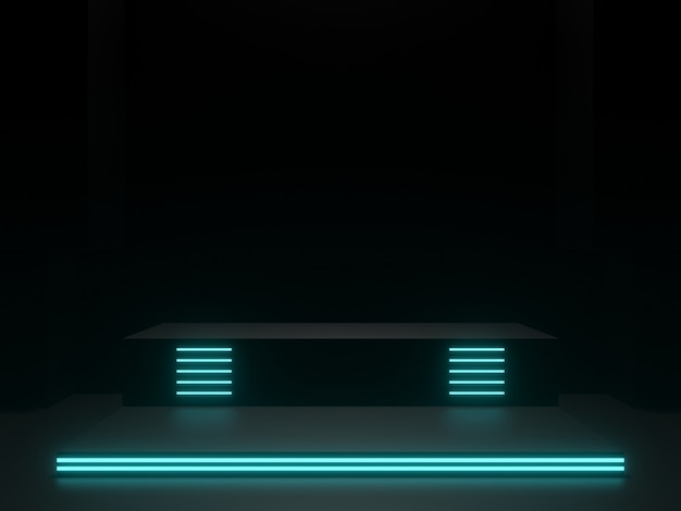 파란색 네온 불빛이 있는 3d 렌더링된 검은색 과학 무대