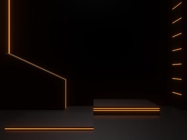 황금 네온 불빛이 있는 3d 렌더링된 검은색 과학 무대