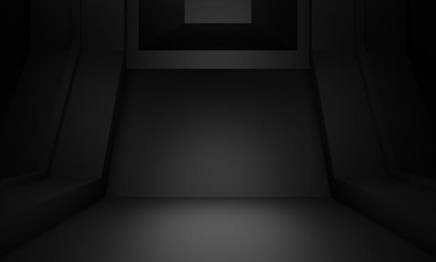 3d 렌더링 검은 과학 무대.