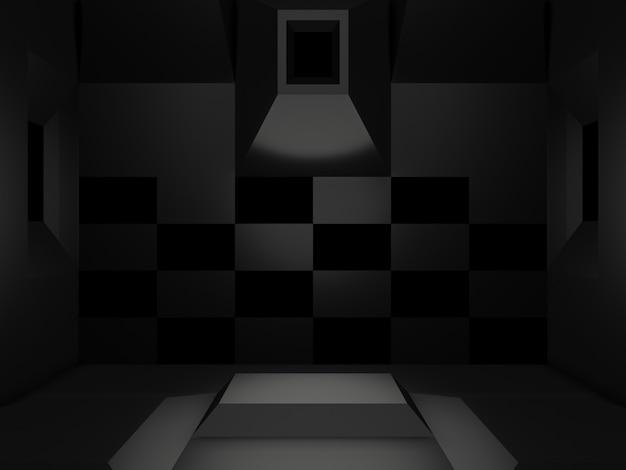 3dレンダリングされた黒い科学的ステージ。