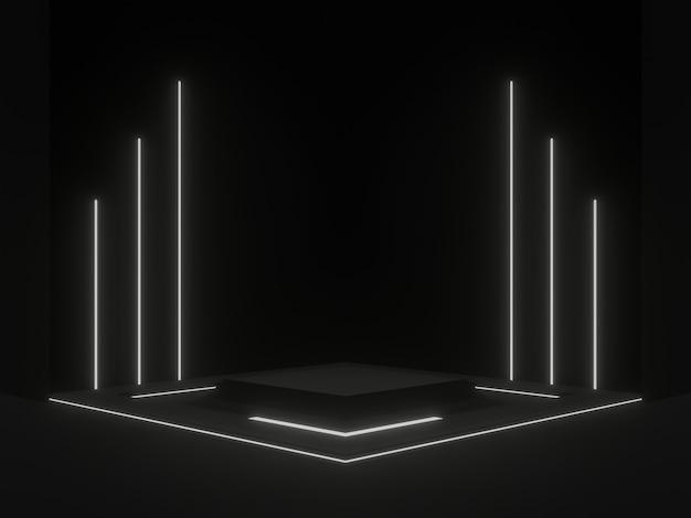 흰색 네온 불빛이 있는 3d 렌더링된 검은색 과학 스탠드