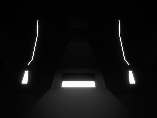 3dレンダリングされた黒いステージの表彰台。