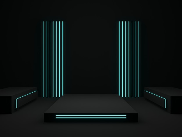 파란색 조명이 있는 3d 렌더링된 검은색 무대