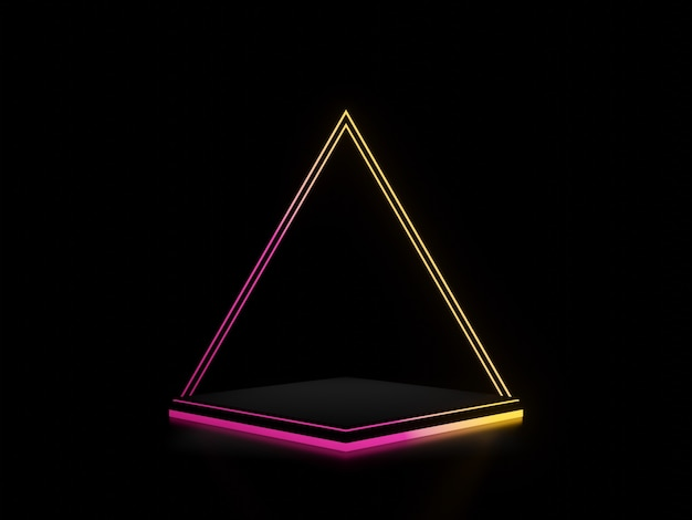 그라데이션 네온 불빛 어두운 Backgroun와 3d 렌더링 된 검은 스탠드 프리미엄 사진