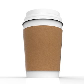 白い背景の上の3dレンダリングされた白紙のコーヒーカップ
