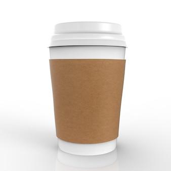 흰색 배경에 3d 렌더링된 빈 종이 커피 컵