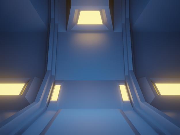 3dレンダリングされた青いサイバーステージ。未来的な背景。