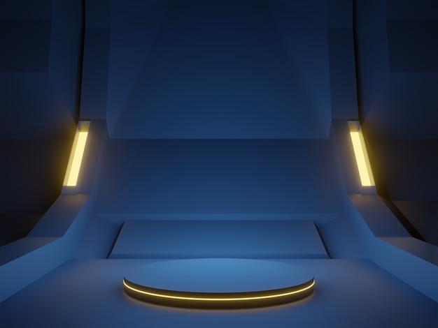 3d 렌더링 블루 사이버 무대. 미래 배경.