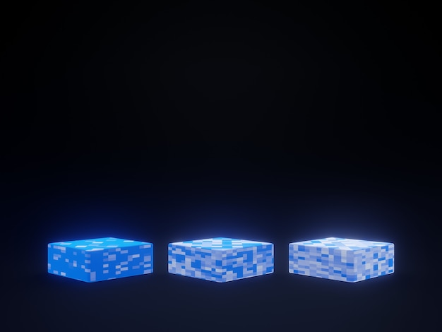 黒の背景に3dレンダリングされた青い幾何学的なスタンド。製品表彰台。