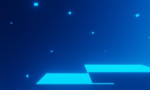 3d 렌더링된 파란색 제품 스탠드입니다. 기하학적 연단입니다.