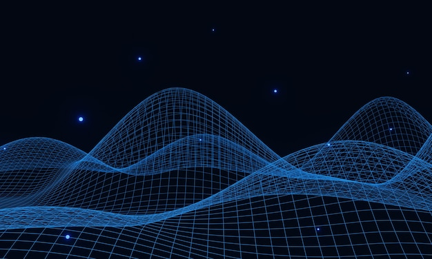 3d rendered blue topographic mountain grid.
