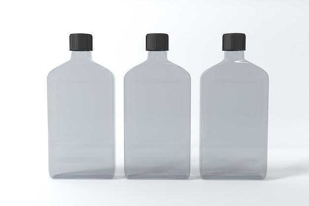 3dレンダリングされたボトルのモックアップテンプレート