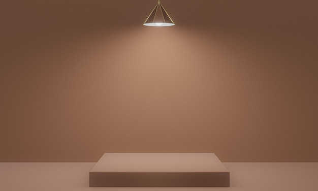 3d rendered brown podium and ceiling lamp