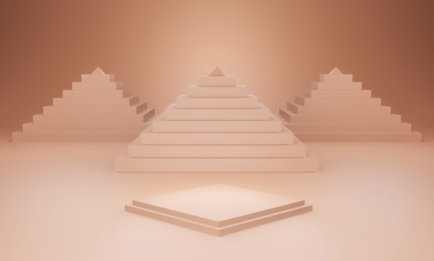 3d rendered brown stage with pyramids