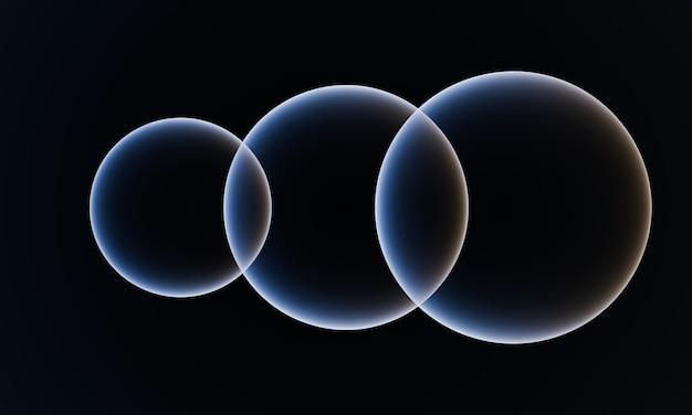 黒の背景に3dレンダリングされた泡
