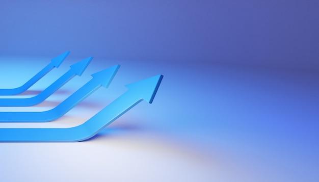 3d визуализированная бизнес-стрелка вверх концепция направления к цели успеха. видение роста финансов растет.