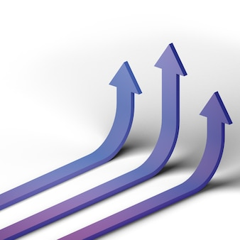 3d визуализированная бизнес-стрелка вверх по концепции направления к цели успеха. видение финансового роста растягивается вверх.