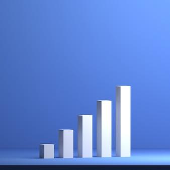 3d rendered business growth chart bar concept