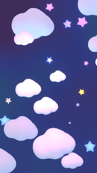 3d rendered cartoon clouds and stars in the night sky vertical