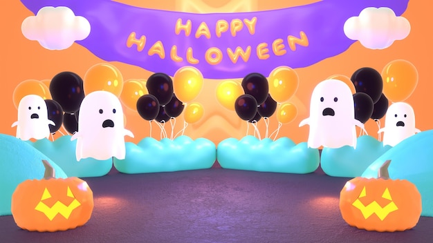 3d 렌더링 된 만화 귀여운 유령 할로윈 풍선 파티