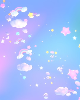 3d rendered cartoon dreamy rainbow clouds and stars in the sky