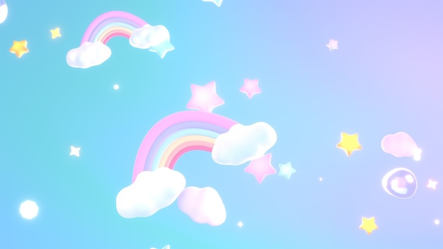 3d rendered cartoon dreamy rainbows clouds and stars in the soft pastel gradient sky