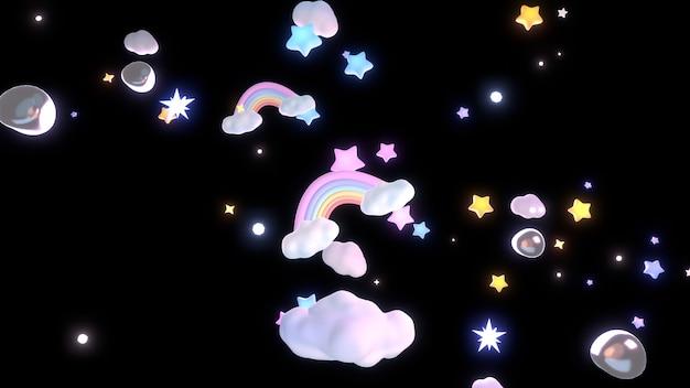 3d-рендеринг мультяшных радужных облаков и звезд в ночном небе