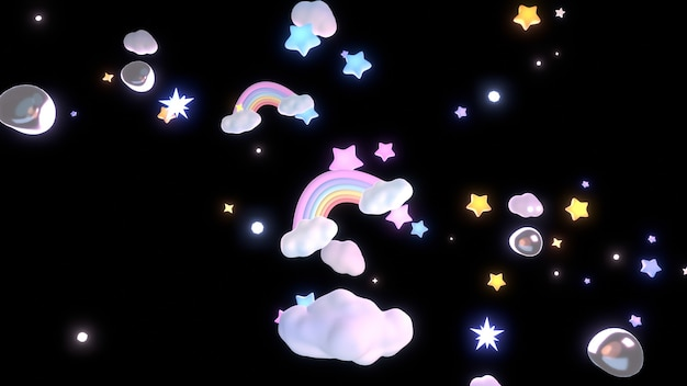 3d rendered cartoon rainbow clouds and stars in the night sky