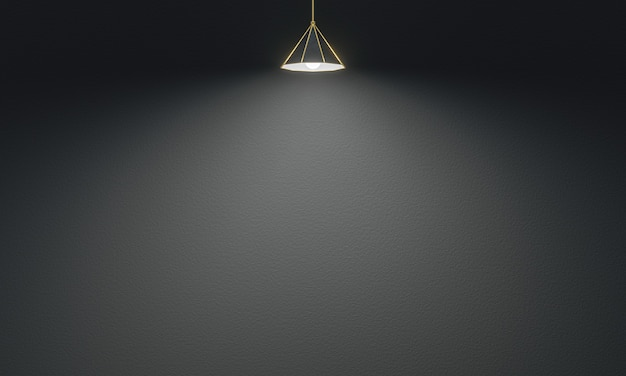 3d rendered ceiling lamp with cement wall background