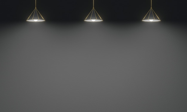 3d rendered ceiling lamps with black cement wall background