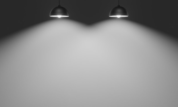 3d rendered ceiling lamps with cement wall background