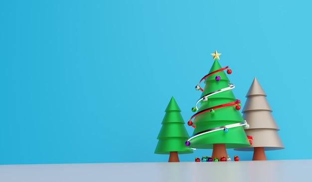 3d визуализация рождественская елка украшение фон