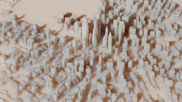 影と明るい太陽のある詳細な街並みの背景を持つ3dレンダリングされた都市ビュー。