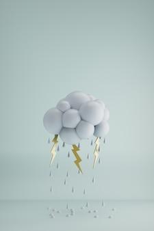 水滴と稲妻で3dレンダリングされた雲