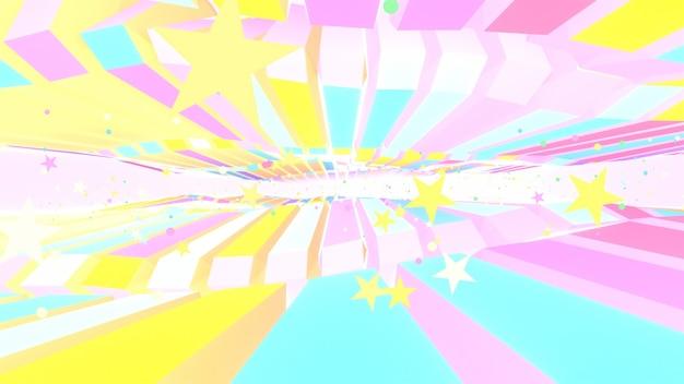 3d визуализации красочные длинные кубики и звезды