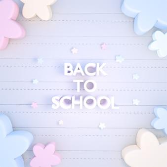 3dレンダリングされたカラフルなパステルカラーの花とノートブック紙の学校に戻るサイン
