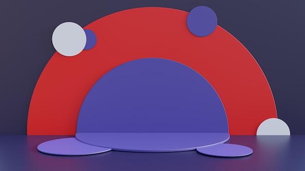 3d визуализации. красочный постамент для дисплея, постамента или платформы, пустая подставка для продукта.