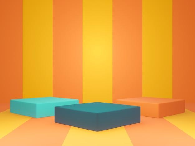 3d 렌더링된 다채로운 제품 스탠드입니다. 상자 연단.